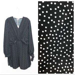 NWT &. Layered Nordstrom Faux Wrap Polka Dot Dress